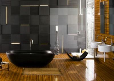 zwarte badkamer houten vloer